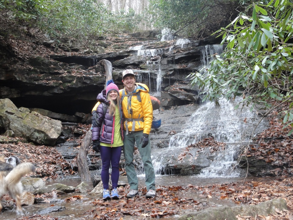 """Jessie and I in front of a PA """"run"""" in Ohiopyle State Park"""
