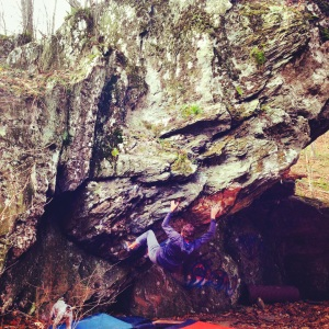 Crystal Crimps, V4, the problem is a 3 star problem but this is a 5 star boulder as far as aesthetics goes!
